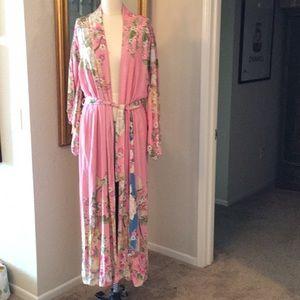 Blue skies kimono pink and blue reversible